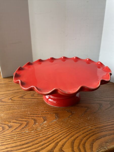 """Red Ceramic Ruffled Cake Stand Made In Italy 11"""" Round 4""""Tall $15.99"""