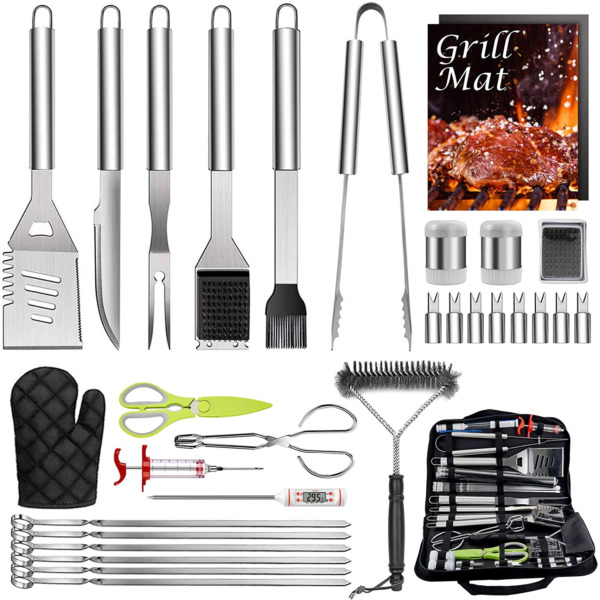 HaSteeL 32 PCS Grilling Accessories BBQ Grill Set Stainless Steel Grill Tools A