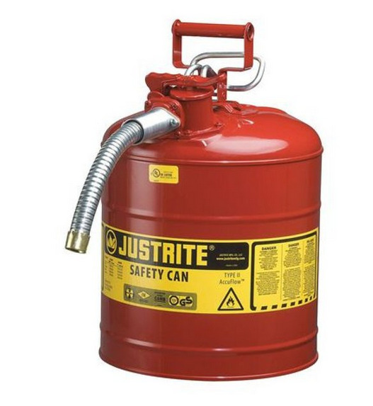 JUSTRITE 7250130 5 gal. Red Steel Type II Safety Can for Flammables $75.99