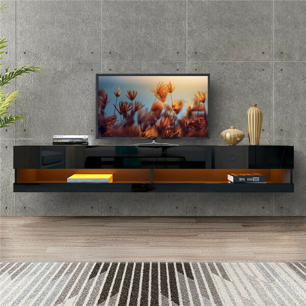 80quot; High Gloss TV Stand Wall Mounted Floating 20 Color LED Hanging TV Consoles $229.99