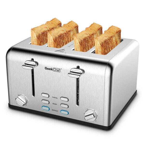 4 Slice Toaster Stainless Steel Extra Wide Slot Toaster Square Corner Silver