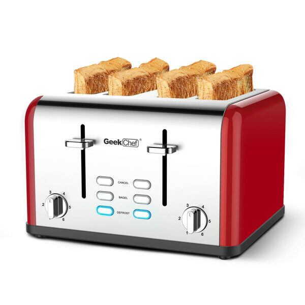 4 Slice Toaster Stainless Steel Extra Wide Slot Toaster Square Silver amp; Red