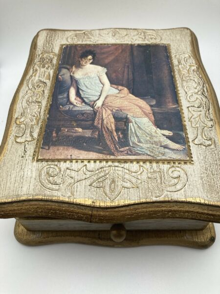 Mele Vintage Wood Musical Jewelry Box Love Story A 11