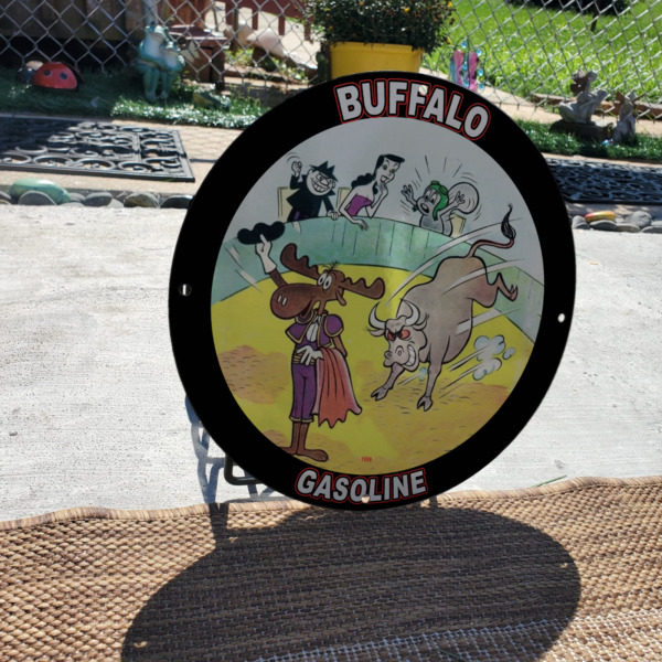 Vintage 1959 Buffalo Gasoline #x27;#x27;Bullwinkle amp; Rocky#x27;#x27; Porcelain Gas And Oil Sign $195.95