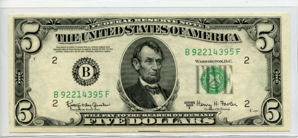 1950 E New York $5 Dollar Federal Reserve Note nice unc 4395 $28.00