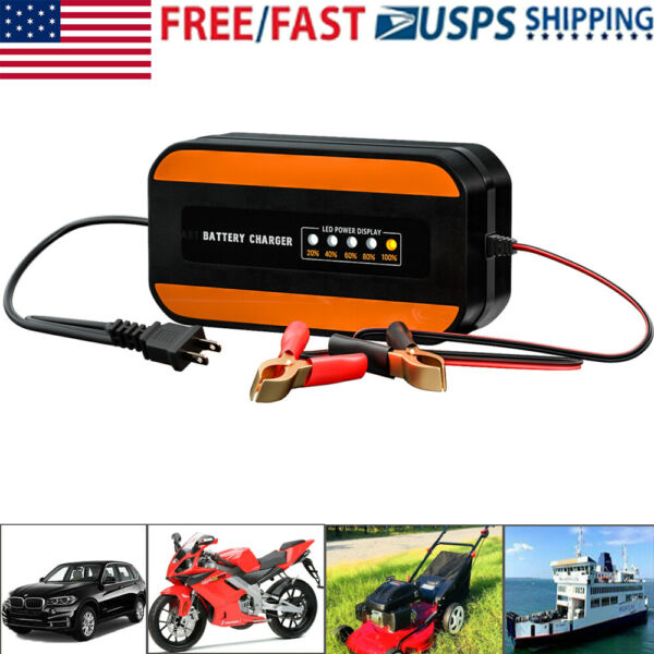 Car Battery Charger Auto Boat Smart Maintainer Pulse Repair Charger with LCD 12V $19.91