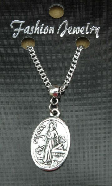 St Luke Pendant Necklace 18quot; or 24 Inch Chain Holy Saint Charm $15.76