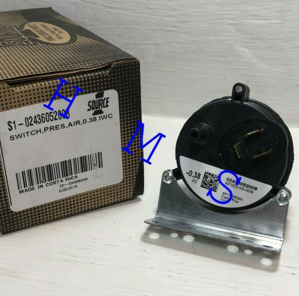 YORK COLEMAN FURNACE S1 02436052008 AIR PRESSURE SWITCH 0.38 IWC $19.95