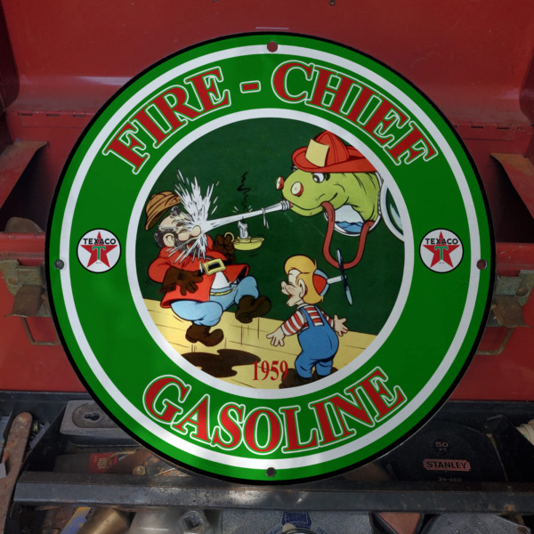 Vintage 1959 Fire Chief Gasoline #x27;#x27;Beany amp; Cecil#x27;#x27; Porcelain Gas And Oil Sign $195.95