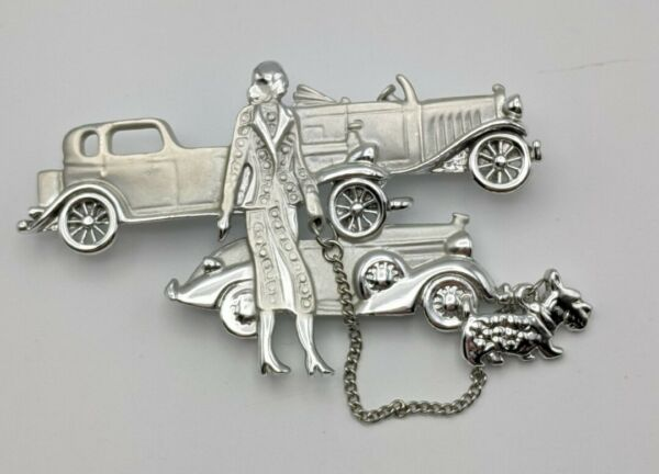 Vintage Art Deco Style Silver Tone brooch pin Women Dog Cars $24.99