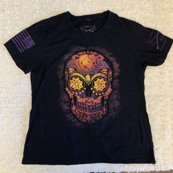GRUNT STYLE Womens Black DAY OF THE DEAD SUGAR SKULL Graphic Print Tee XL A36