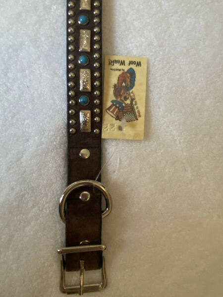 Woof Wear Large Dog Brown Leather Collar. Turquoise And Silver Embellishments. $26.00
