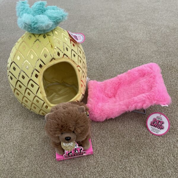 NWT Justice Pet Shop Pineapple Bed Elsie Dog amp; Pink Plush Lounge Chair $29.99