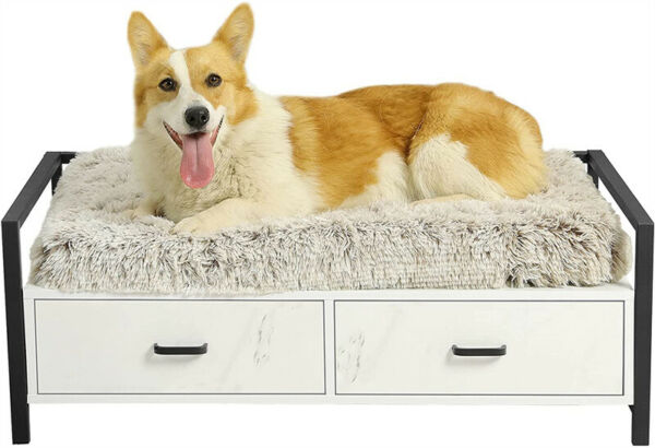 Pet Dog Bed Frame with Drawer Wood Bed for Big Dogs Cats Couch Sofa Medium White $89.99