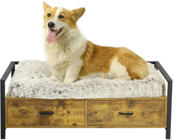 Dog Bed Frame with Drawer Couch Sofa Elevated Wood Dog Furniture Easy to Clean $65.00