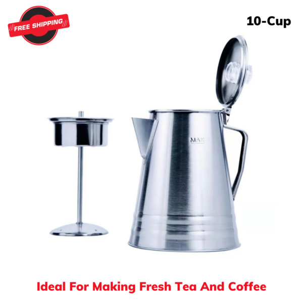 10 Cup Stainless Steel Percolator Coffee Pot Ideal For Camping T