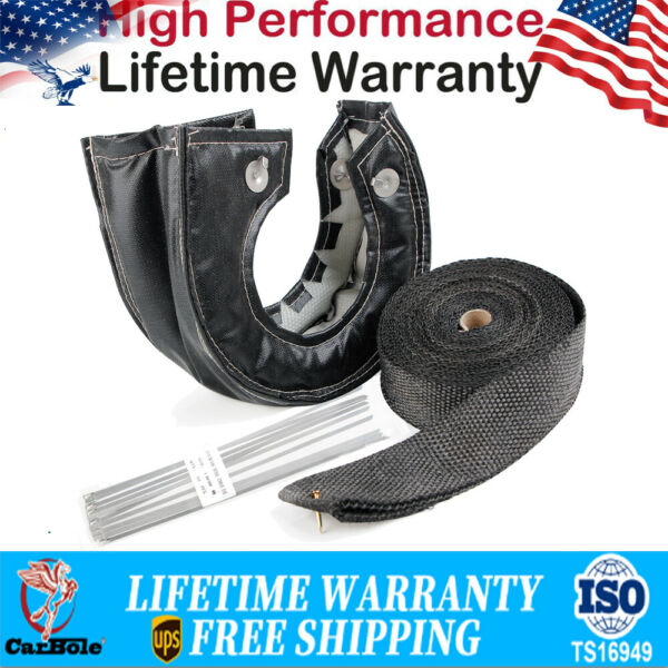T3 Black Carbon Turbo Heat Shield Blanket Cover W 50FT Exhaust Header Wrap Tape $35.99