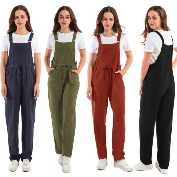 Ladies Casual Overalls Dungarees Solid Pocket Jumpsuit Long Pants Cargo Women