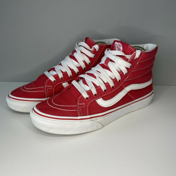 VANS Mens Sz 65 Pro Off Wall Sneakers Skater High Top 721454 Red Canvas Shoe $39.88