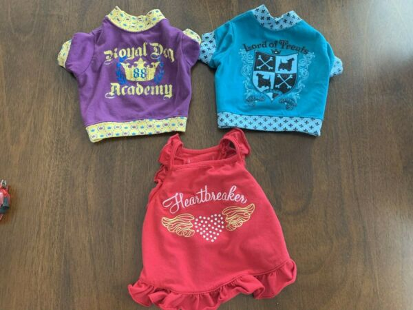 Lot of 3 SIMPLY DOG Dog Pet Outfits Graphic T Shirts Bling Dress Sz S $9.09