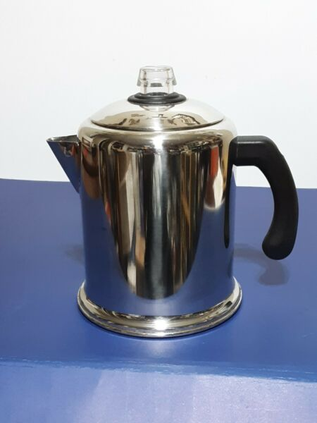 FARBERWARE Percolator Stove Top 8 Cup Heavy Duty Stainless Steel Coffee Pot▪MINT
