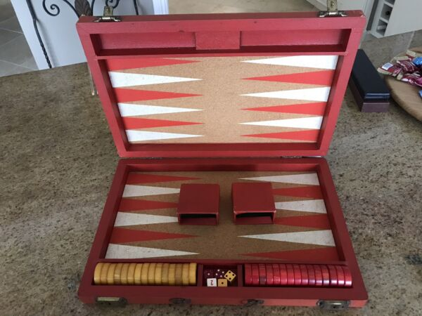 """Vintage Crisloid Bakelite Backgammon Set Marbled Red amp; Butterscotch 1.5""""Checkers"""