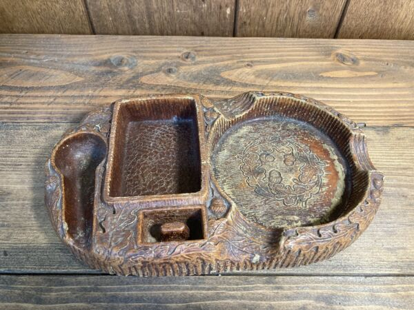 Vintage Wood Pipe Holder And Ashtray Pipe Stand $17.85