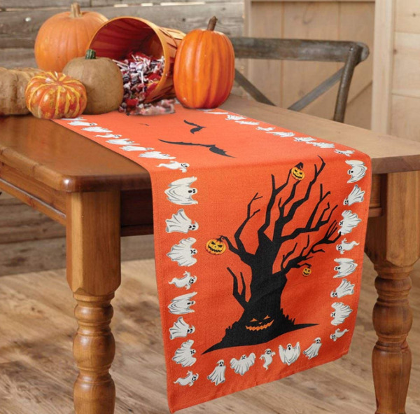 Halloween Table Runner OurWarm Burlap Table Runner with Flying Bats amp; Ghost Tree