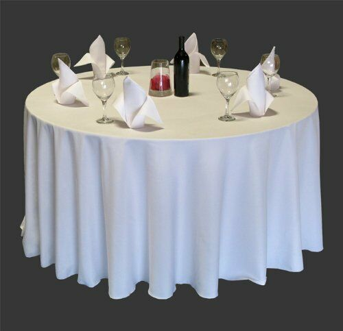 40 Pack 120 Inch Round Polyester Tablecloths 25 Colors Made in USA 5ft Table