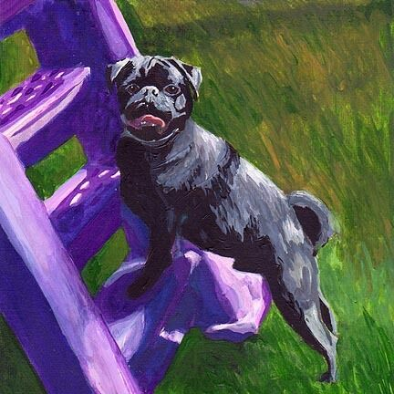 BLACK PUG on Slide Dog Art PRINT of Painting by VERN $11.98