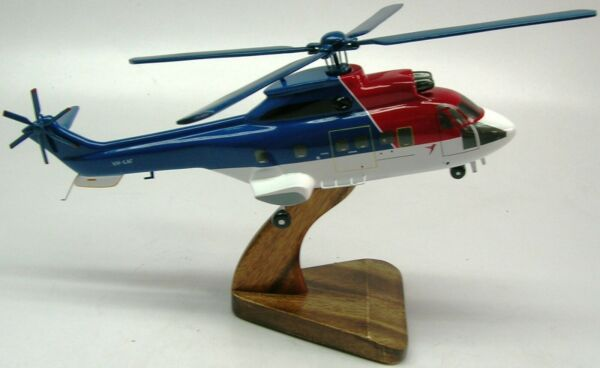 AS-332 Super Puma Helicopter Wood Model Free Ship New