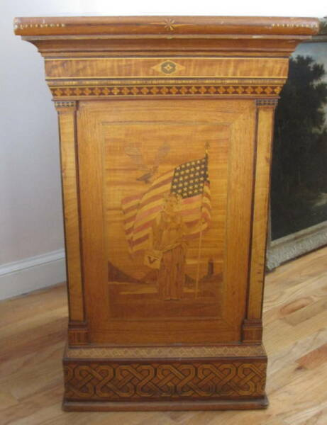 Americana Over 60 Different Wooden Mosaic Inlaid Marquetery Podium MAGNIFICENT