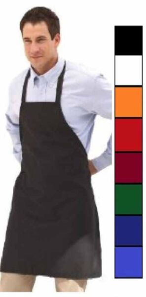 1 new black red orange green white blue commercial bib apron with color choice