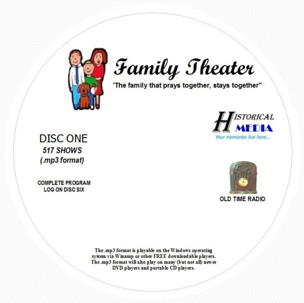 FAMILY THEATER - 517 Shows Old Time Radio In MP3 Format OTR On 6 CDs