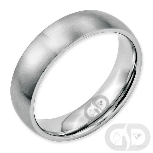 Stainless Steel 6mm Wedding Band Half Round Comfort-Fit Brushed Ring Size 5 - 13