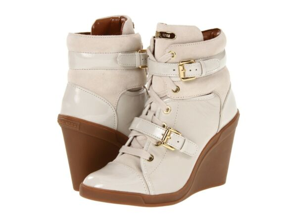 Michael KORS SKID ICONIC GOLD LOGO BUCKLE LACE UP WEDGE SNEAKERS I LOVE SHOES