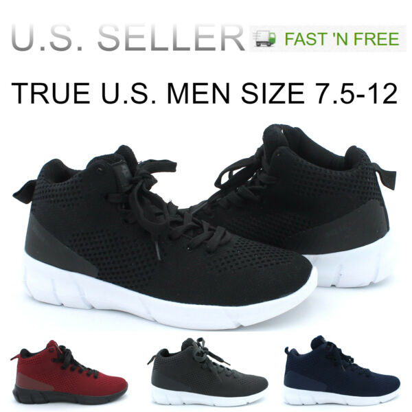 Men's Basketball Shoes High Top Athletic Sneakers Light Weight Mesh Up Fashion