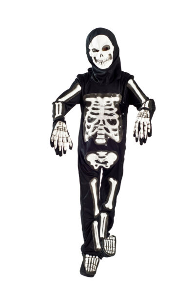 Skeleton Halloween Costume boys Light up Size 5-6 6-8 glowing Fiber Optic Kids
