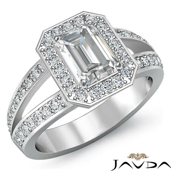 Sturdy Emerald Cut Diamond Pave Engagement Ring GIA F SI1 14k White Gold 1.55 ct