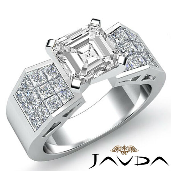 Sturdy Asscher Diamond Invisible Engagement Ring GIA H VS2 14k White Gold 1.84ct