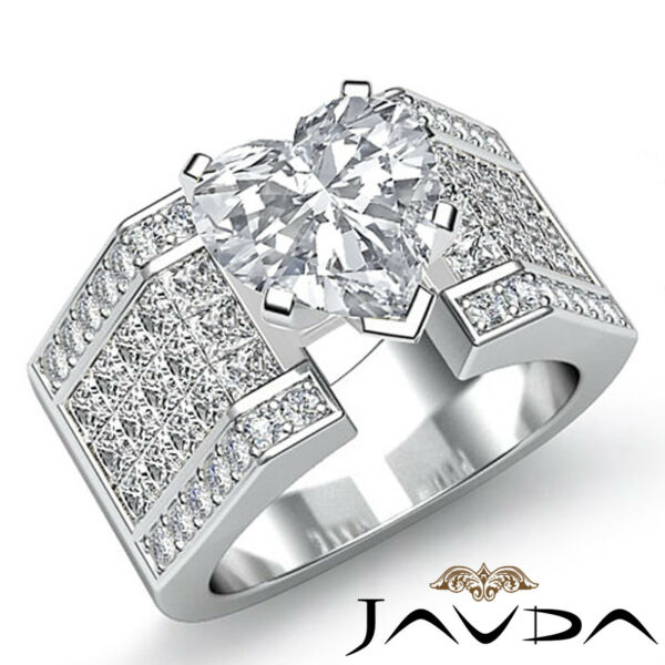 Sturdy Heart Diamond Invisible Engagement Ring GIA H SI1 14k White Gold 3.62 ct