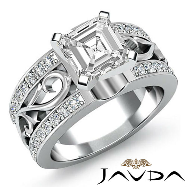 Sturdy Asscher Diamond Exquisite Engagement Ring GIA G VS2 14k White Gold 1.55ct