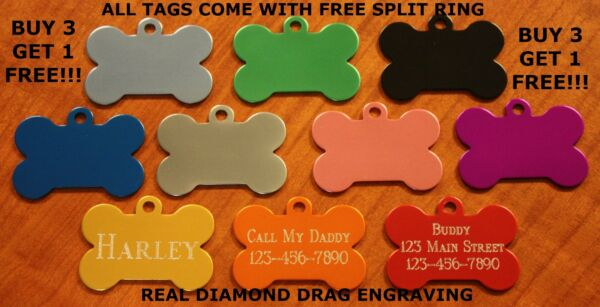 Custom Engraved Dog Tag Pet ID WITH FREE SHIPPING with free split ring $3.79