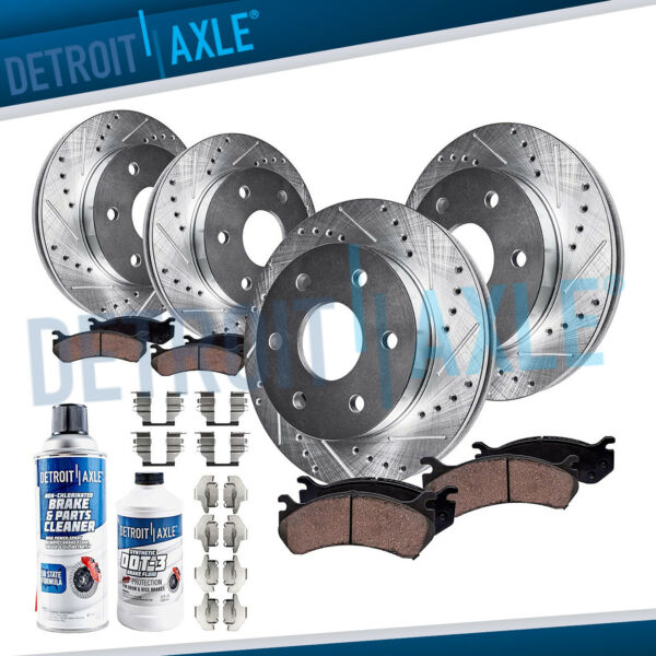 Front & Rear DRILLED Brake Rotor + Ceramic Pad Chevy & GMC Sierra Silverado 1500