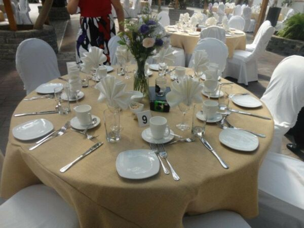5 Burlap Tablecloths 120 inch Round Handmade Rustic Beige Tan Modern 60quot; Table