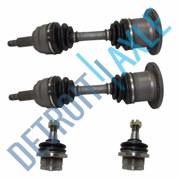 4 pc Set - Front Driver and Passenger Side CV Axle Shaft + 2 Ball Joints - 4WD