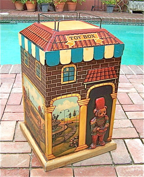 VINTAGE WOOD TOY BOX CHEST HAND PAINTED UNIQUE DESIGN 1-OF-A-KIND RARE KEEPSAKE!
