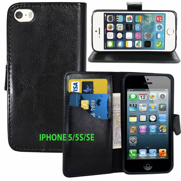 BLACK Wallets leather plain Case Cover with clip and Card Slots for iPhone 5 5S GBP 2.99