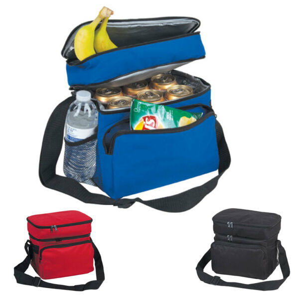 Insulated Lunch Box Cooler Bag 2 Compartments Beer Drink Water Strap Pockets 10quot; $14.95