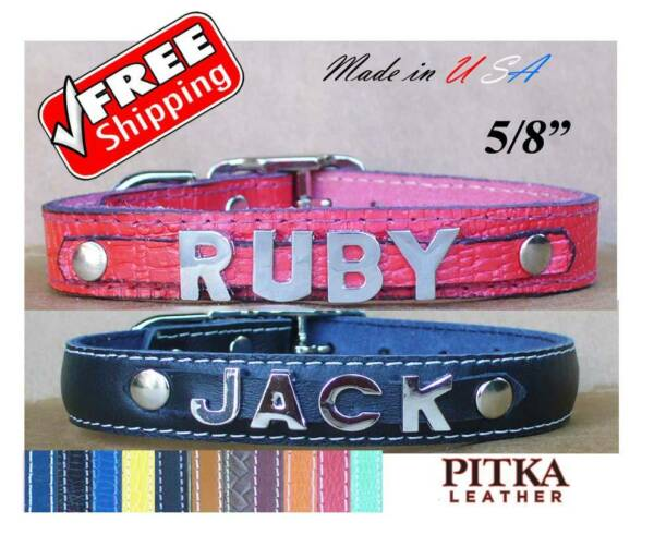 Personalized Dog Collars with Chrome letters Name Leather Puppy Collars small $11.00